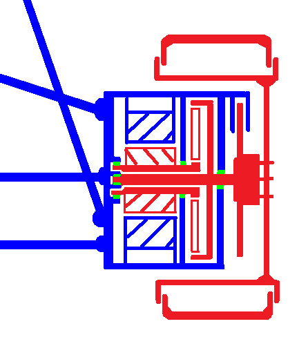 Combined electric motor transmission disc brake suspension and steering unit with rotating parts.png