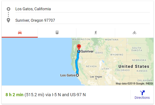 LG to Sunriver - Google Map Directions.PNG