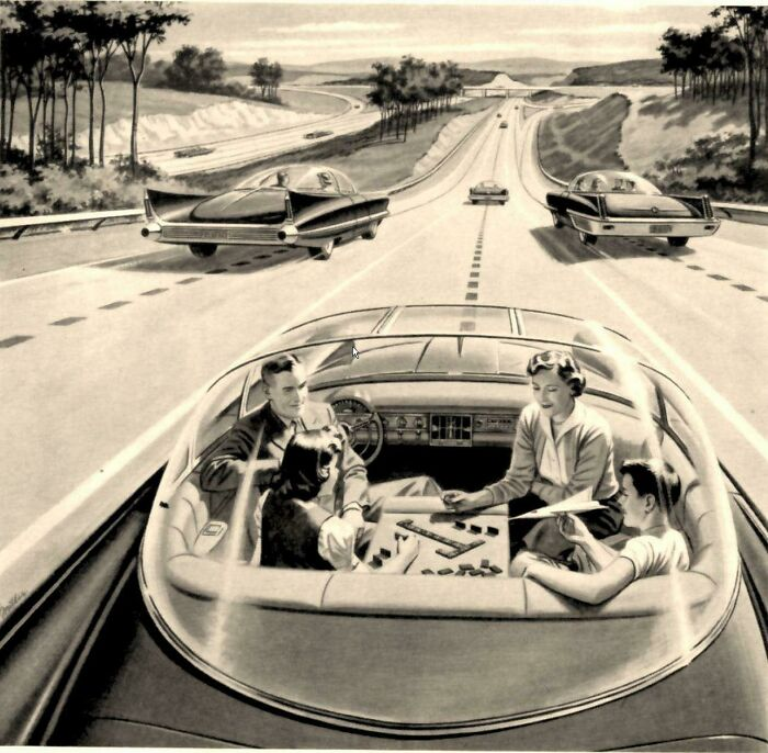 Self-driving cars of the future, ca. 1960.jpg