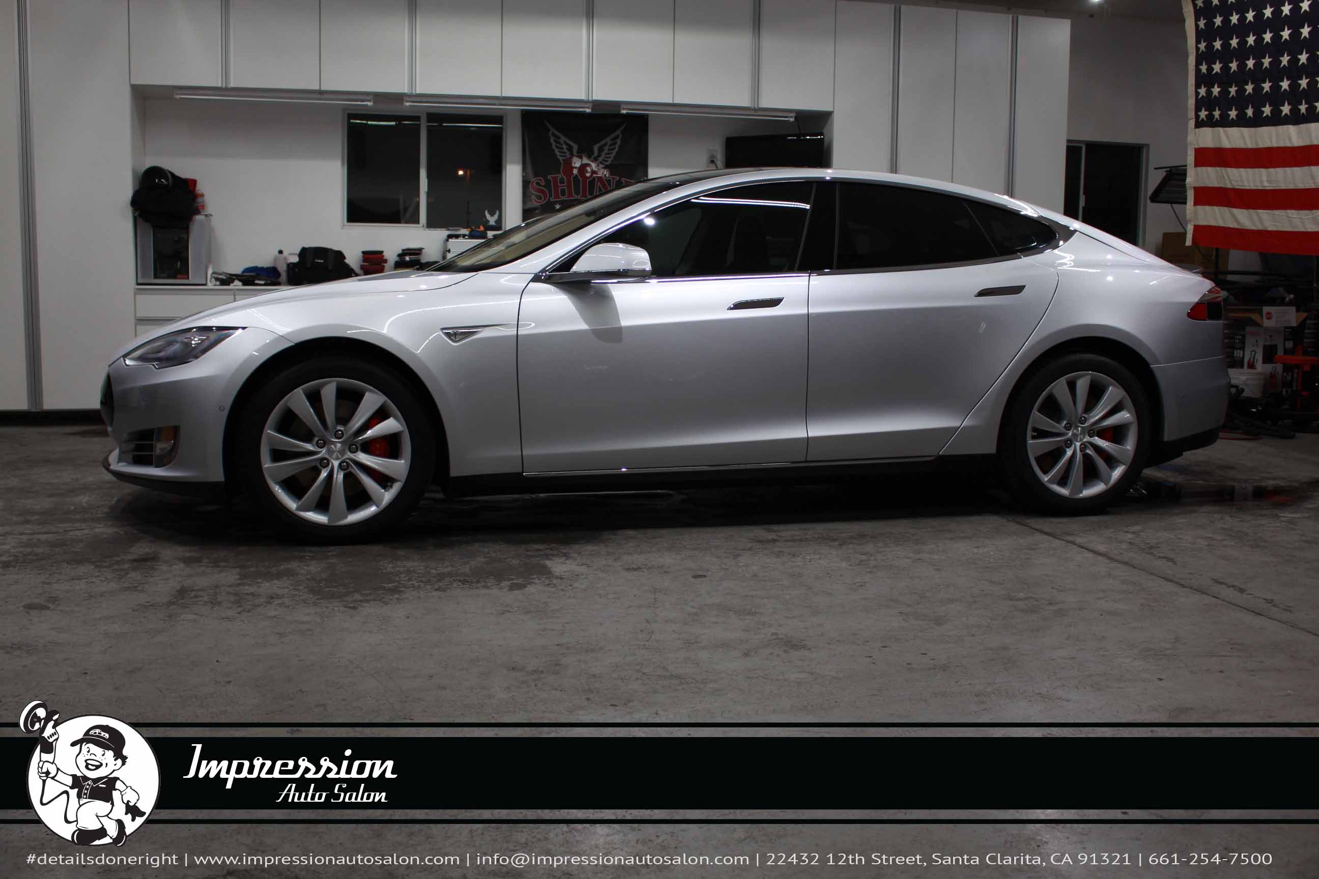 Silver 2015 Tesla S P85D After CQuartz Finest Coating and Nose Paint Protection Film - Side View.jpg