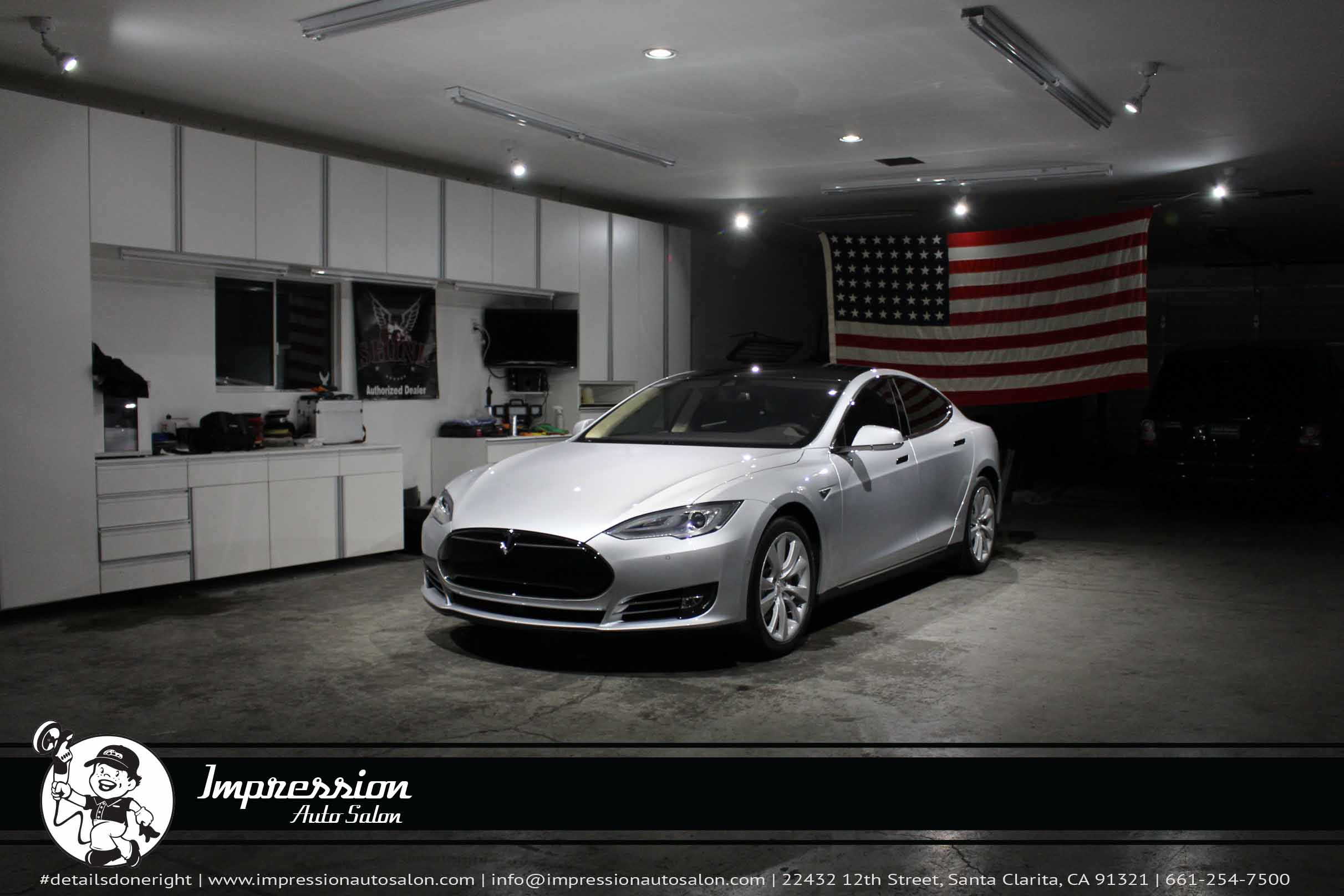 Silver 2015 Tesla S P85D with CQuartz Finest and Nose Clear Bra - Front.jpg