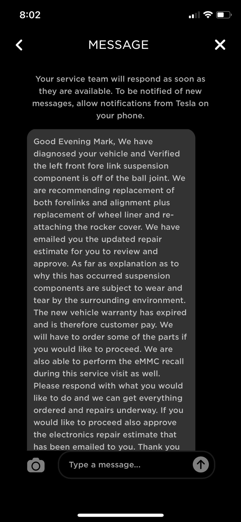 Tesla Repair Message Aug 2021.png