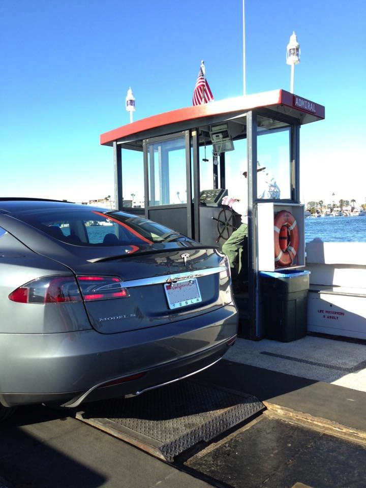 Tesla S85 on Balboa Ferry Christmas 2015.jpg