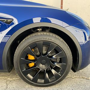 Tesla Y Calipers Paint and Powder Coating
